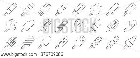 Line Icons. Linear Set. Quality Vector Line Set Such As Ice Pop, Ice Pop, Ice Pop,