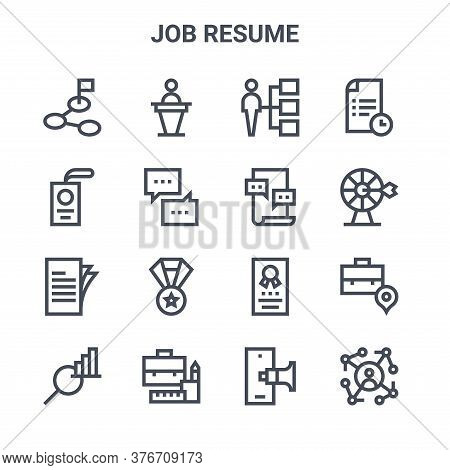 Set Of 16 Job Resume Concept Vector Line Icons. 64x64 Thin Stroke Icons Such As Speech, Id Card, Tar
