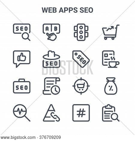Set Of 16 Web Apps Seo Concept Vector Line Icons. 64x64 Thin Stroke Icons Such As Navigate, Social M