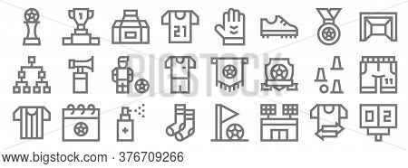 Soccer Line Icons. Linear Set. Quality Vector Line Set Such As Scoreboard, Football, Football Socks,