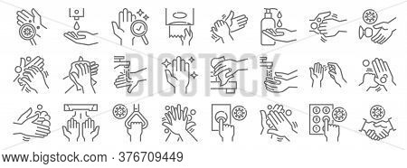 Hand Washing Line Icons. Linear Set. Quality Vector Line Set Such As Handshake, Cleaning, Cleaning,