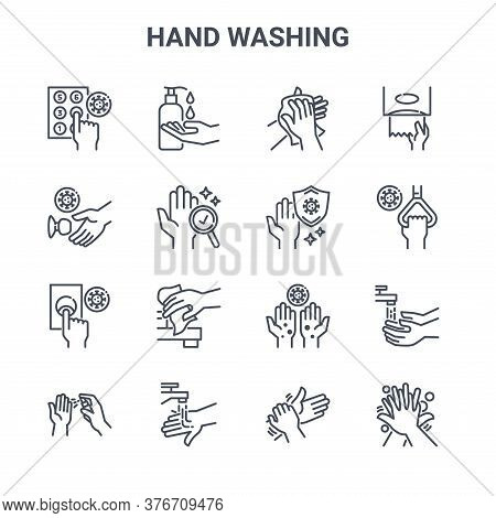 Set Of 16 Hand Washing Concept Vector Line Icons. 64x64 Thin Stroke Icons Such As Cleaning Liquid, T
