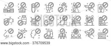 Virus Restrictions Line Icons. Linear Set. Quality Vector Line Set Such As Closed, Disco, Contact, N