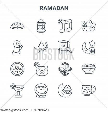 Set Of 16 Ramadan Concept Vector Line Icons. 64x64 Thin Stroke Icons Such As Lantern, Prayer, Ramada