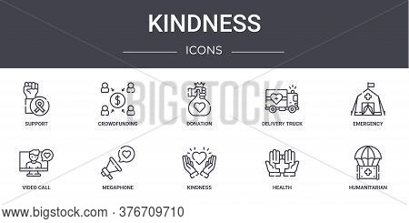 Kindness Concept Line Icons Set. Contains Icons Usable For Web, Logo, Ui Ux Such As Crowdfunding, De