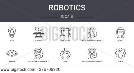 Robotics Concept Line Icons Set. Contains Icons Usable For Web, Logo, Ui Ux Such As Surgery, Artific