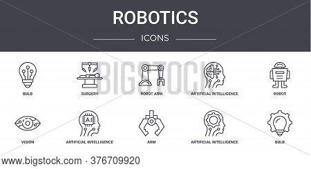 Robotics Concept Line Icons Set. Contains Icons Usable For Web, Logo, Ui Ux Such As Surgery, Artific