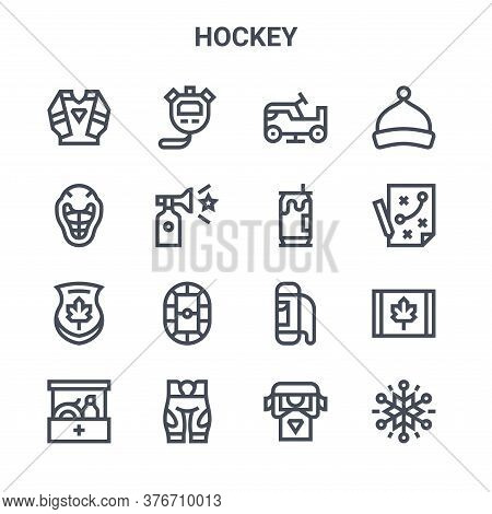 Set Of 16 Hockey Concept Vector Line Icons. 64x64 Thin Stroke Icons Such As Stopwatch, Helmet, Strat