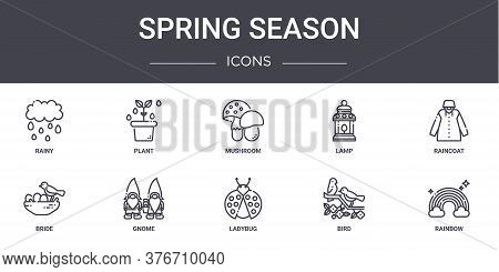Spring Season Concept Line Icons Set. Contains Icons Usable For Web, Logo, Ui Ux Such As Plant, Lamp