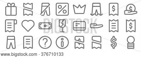 Marketplace Line Icons. Linear Set. Quality Vector Line Set Such As Coin, Receipt, Info, Pants, Bill