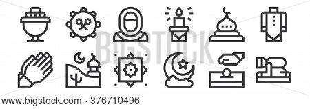 12 Set Of Linear Ramadan Icons. Thin Outline Icons Such As Salah, Half Moon, Mosque, Mosque, Muslim,