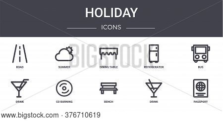 Holiday Concept Line Icons Set. Contains Icons Usable For Web, Logo, Ui Ux Such As Summer, Refrigera