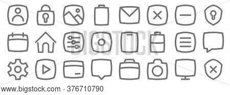 Basic Ui Line Icons. Linear Set. Quality Vector Line Set Such As Shield, Camera, Chat, Setting, Open