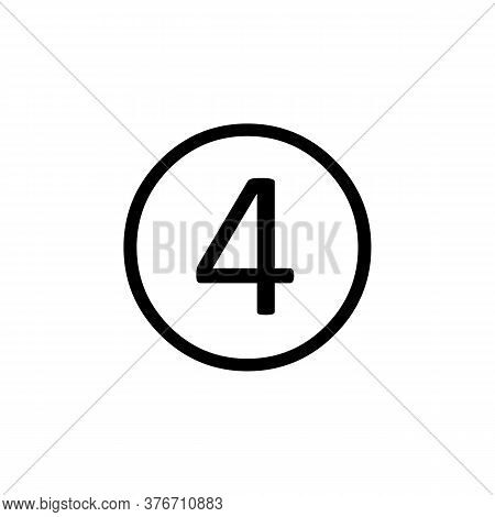 Simple Line Vector Number 4 Icon. Number 4 Vector Icon Illustration. Number 4 Icon In Simple Design
