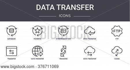 Data Transfer Concept Line Icons Set. Contains Icons Usable For Web, Logo, Ui Ux Such As Favorite, D