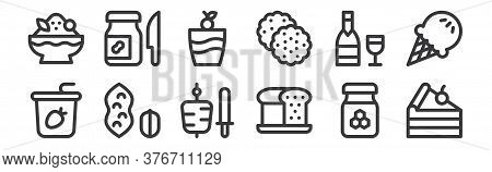 12 Set Of Linear Gastronomy Icons. Thin Outline Icons Such As Cake Piece, Loaf, Peanuts, Wine, Ice C