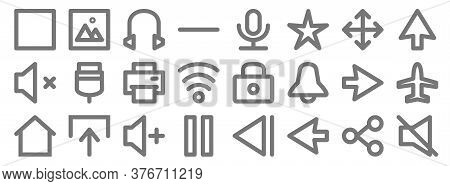 User Interface Line Icons. Linear Set. Quality Vector Line Set Such As Mute, Left, Pause, Home, Righ