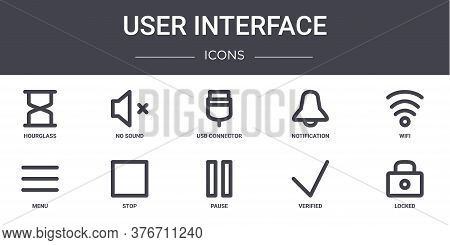 User Interface Concept Line Icons Set. Contains Icons Usable For Web, Logo, Ui Ux Such As No Sound,