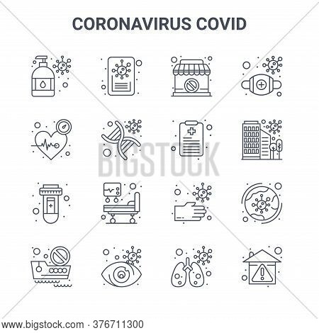 Set Of 16 Coronavirus Covid Concept Vector Line Icons. 64x64 Thin Stroke Icons Such As News, Heart B