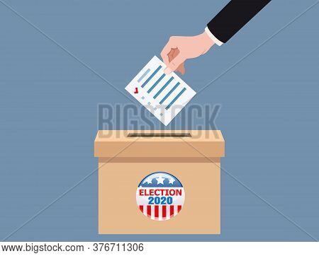 The Us Presidential Election 2020. Hand Putting Voting Blanc Paper In Vote Box, Ballot Campaign. Vec