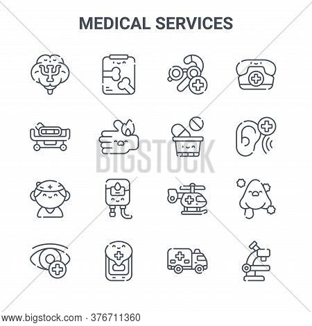 Set Of 16 Medical Services Concept Vector Line Icons. 64x64 Thin Stroke Icons Such As Radiography, H