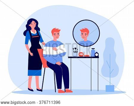 Young Man Visiting Hairdresser. Red Haired Guy Sitting At With Woman In Apron Behind Flat Vector Ill