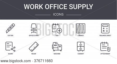 Work Office Supply Concept Line Icons Set. Contains Icons Usable For Web, Logo, Ui Ux Such As Office