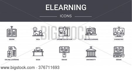 Elearning Concept Line Icons Set. Contains Icons Usable For Web, Logo, Ui Ux Such As Idea, Online Le
