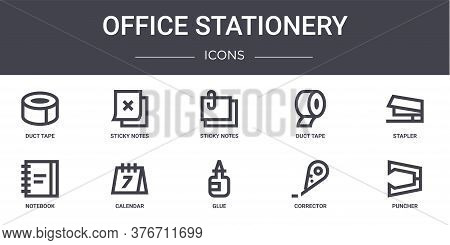 Office Stationery Concept Line Icons Set. Contains Icons Usable For Web, Logo, Ui Ux Such As Sticky