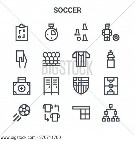 Set Of 16 Soccer Concept Vector Line Icons. 64x64 Thin Stroke Icons Such As Stopwatch, Card, Water B