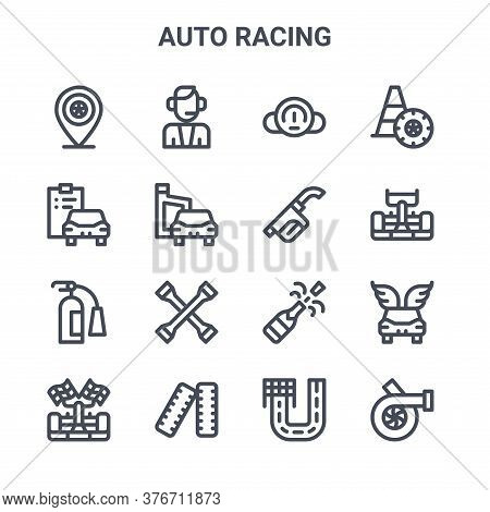 Set Of 16 Auto Racing Concept Vector Line Icons. 64x64 Thin Stroke Icons Such As Commentator, Diagno