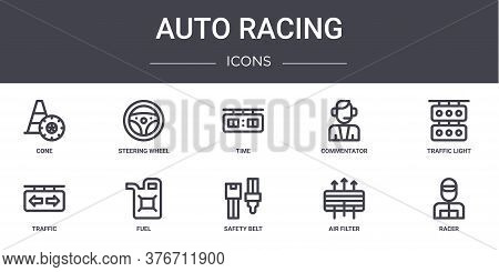 Auto Racing Concept Line Icons Set. Contains Icons Usable For Web, Logo, Ui Ux Such As Steering Whee