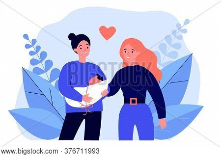 Female Gay Couple Having Baby. Two Happy Lesbian Women Holding New Born Child Flat Vector Illustrati