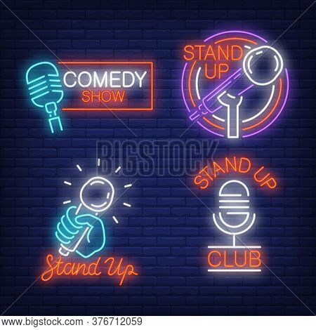 Stand Up Show Neon Signs Set With Microphones. Concert And Entertainment Design Elements. Night Brig