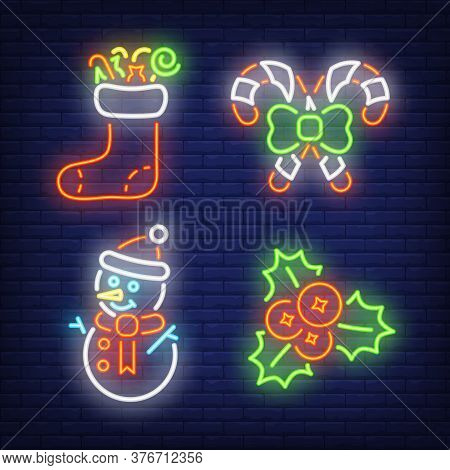 Christmas Neon Sign Set. Christmas Stocking, Candy Cane, Snowman, Mistletoe On Brick Wall Background