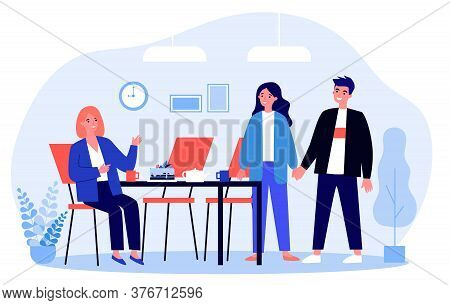Meeting For Tea Or Coffee Break. People Gathering At Table With Cake, Pot And Cups Flat Vector Illus