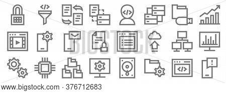 Development Line Icons. Linear Set. Quality Vector Line Set Such As Smartphone, Folder, Monitor, Gea