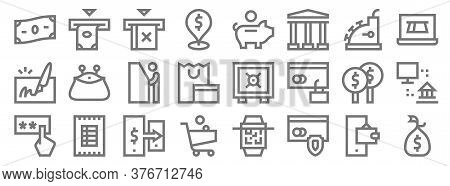Payment Line Icons. Linear Set. Quality Vector Line Set Such As Money Bag, Secure Payment, Shopping