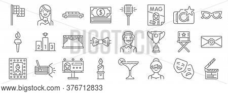 Fame Line Icons. Linear Set. Quality Vector Line Set Such As Clapperboard, Woman, Sculpture, Mirror,