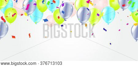 Border Of Realistic Colorful Helium Balloons Isolated On Background. Party Decoration Frame For Birt