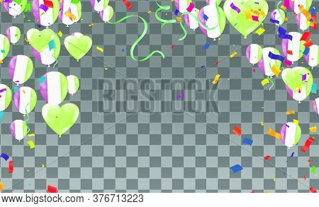 Glossy Olive Green Flying Helium Balloons Backdrop With Blur Effect. Wedding, Birthday And Anniversa