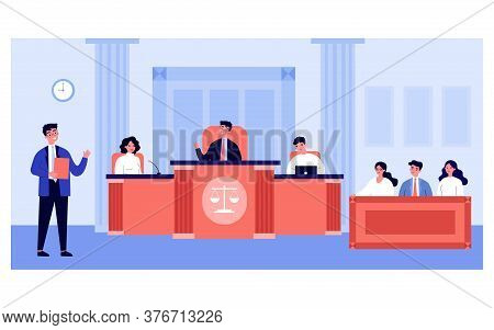 Lawyer Speaking In Front Of Judges And Attorney In Court Isolated Flat Vector Illustration. Cartoon