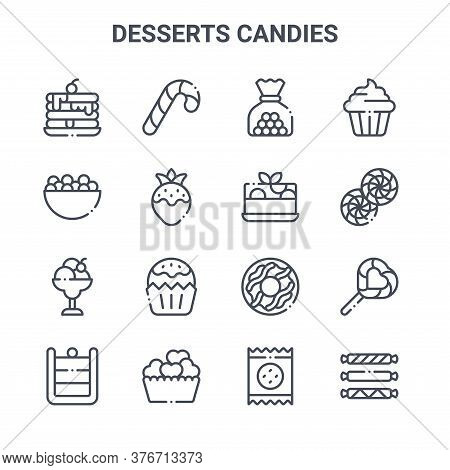 Set Of 16 Desserts Candies Concept Vector Line Icons. 64x64 Thin Stroke Icons Such As Candy Cane, Ca