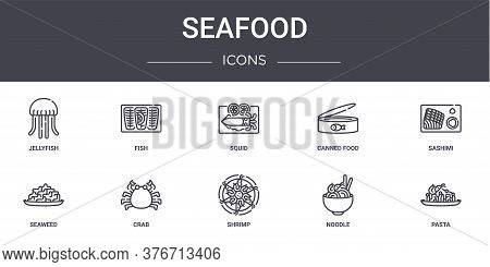 Seafood Concept Line Icons Set. Contains Icons Usable For Web, Logo, Ui Ux Such As Fish, Canned Food