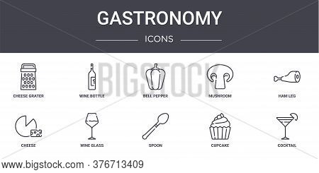 Gastronomy Concept Line Icons Set. Contains Icons Usable For Web, Logo, Ui Ux Such As Wine Bottle, M