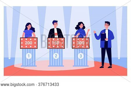 Young People Playing Television Quiz Game With Showman Isolated Flat Vector Illustration. Cartoon Pa