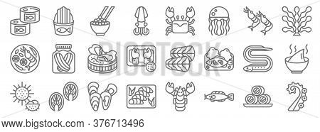 Seafood Line Icons. Linear Set. Quality Vector Line Set Such As Tentacles, Catfish, Sashimi, Sea Urc