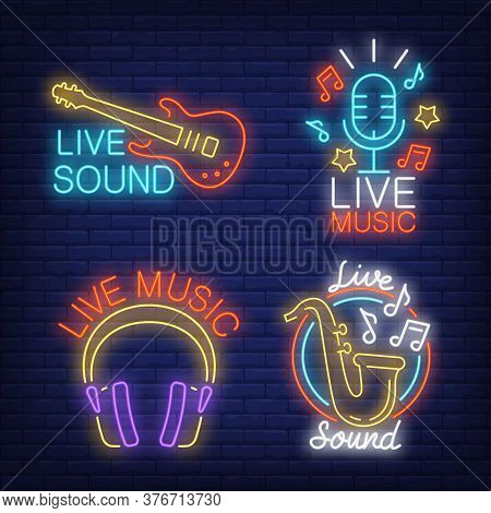 Live Music Neon Signs Set With Guitar, Microphone And Headphones. Concert Advertisement Design. Nigh