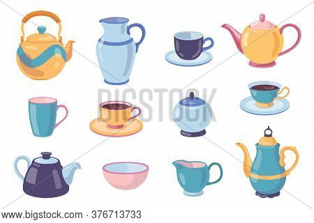 Ceramic Dish For Drinking Tea Set. Teapot, Cups With Saucer, Mugs, Bowls, Pot, Jug Isolated On White