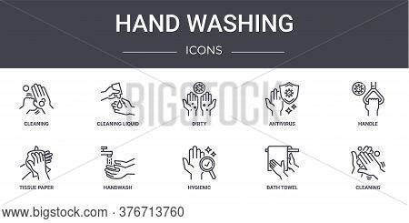 Hand Washing Concept Line Icons Set. Contains Icons Usable For Web, Logo, Ui Ux Such As Cleaning Liq